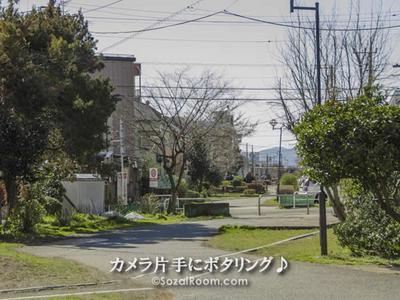 住宅街の中を縦断する水道道
