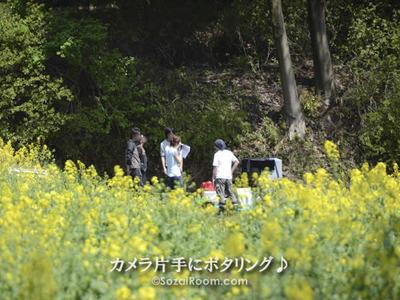 菜の花畑で撮影するクルー